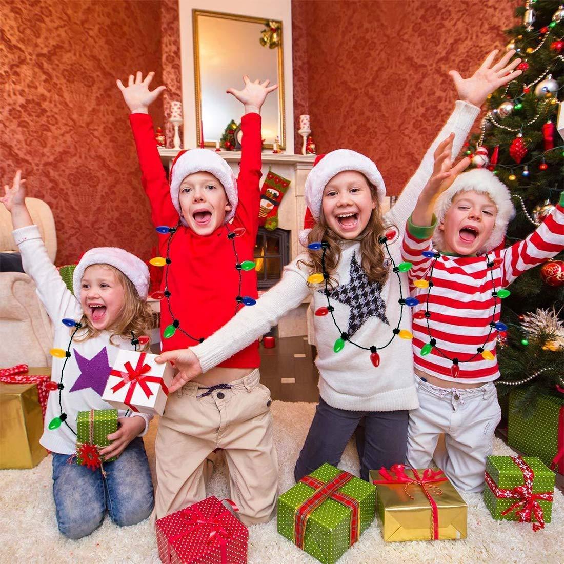 Queta Festival Collar LED Navidad Collar Luces Collar Bombilla Color LED Luz Fiesta de Navidad 5 PCS
