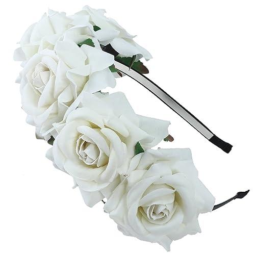 Girls rose Flower Crown–sposa o Bridemaid Hairband fascia floreale Garland copricapo, Boemia stili H...