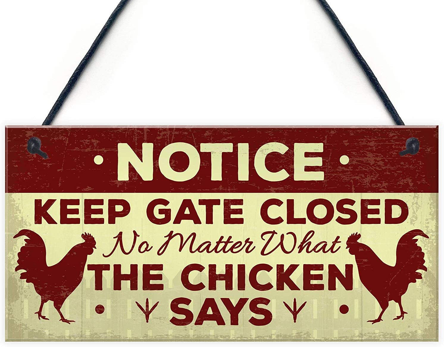 Meijiafei Chicken Gifts Hanging Warning Sign for Gate Garden Funny Chicken Coop Hen House Sign Novelty Gifts for Chicken Lover 10
