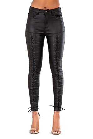 99bae806dda7e7 LustyChic Womens Leather Look Lace up Black High Waist Stretch Trousers  Jeans Size 8-16 (12, Black): Amazon.co.uk: Clothing
