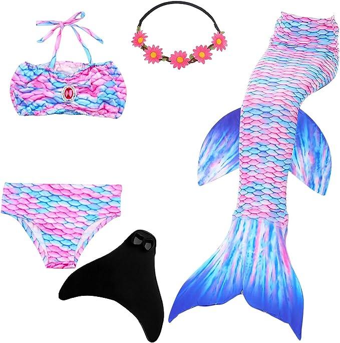 New Kids Girl Mermaid Tail Swimwear Costume Monofin Swimmable Tail Swimming UK