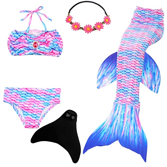 fee35846ea UrbanDesign Mermaid Tail Kids Swimmable with Monofin Swimming Masquerade  Costume with Tail for Girls: Amazon.co.uk: Clothing