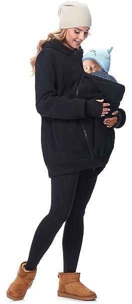 Be Mammy Chaqueta Abrigo Premamá Panel Extraíble Embarazo Ropa Invierno BE20-181 (Negro,