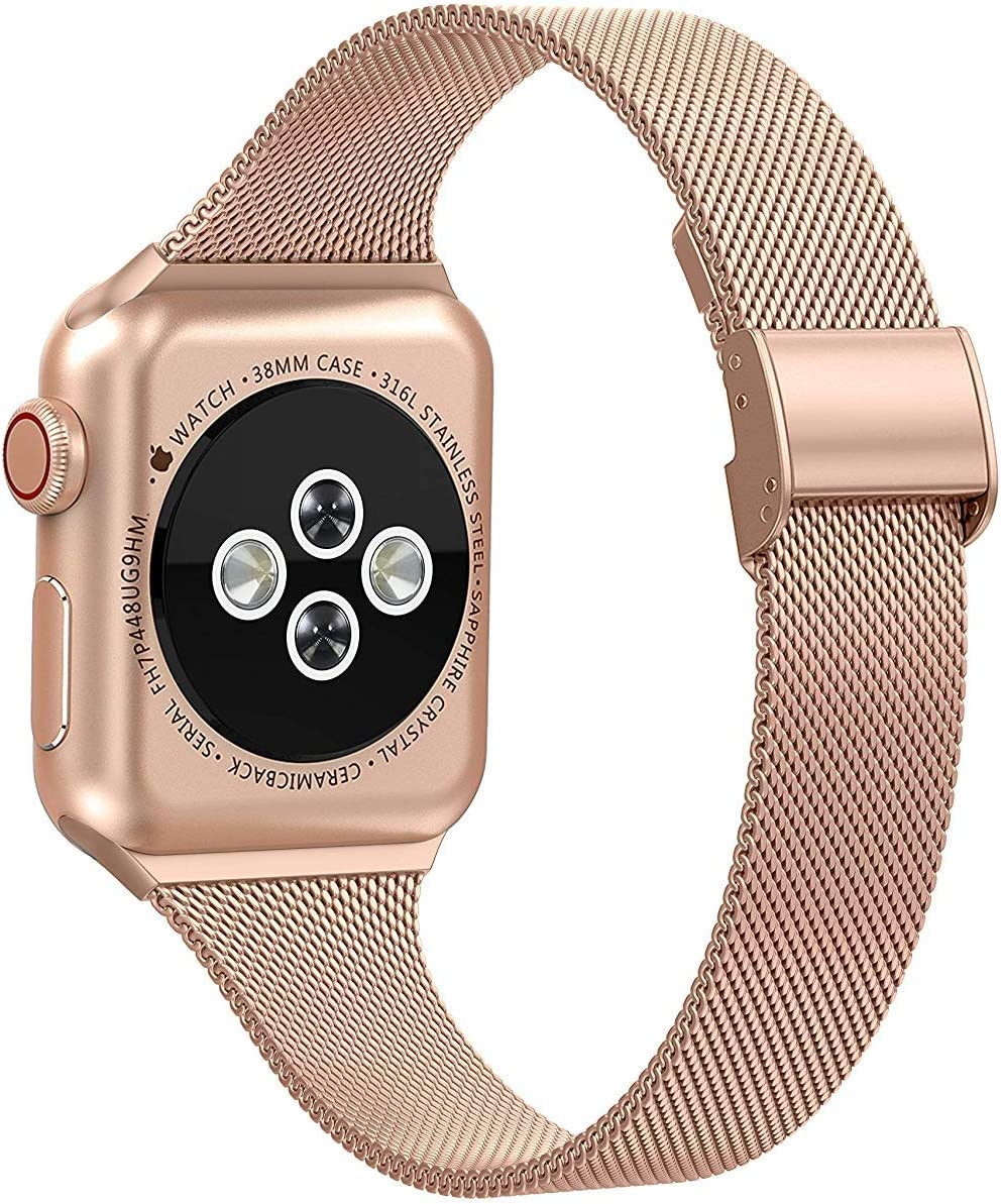 Metal Band Compatible with Apple Watch Bands 38mm 40mm 42mm 44mm, Stainless Steel Wristband Loop Mesh Replacement Band for Iwatch Series 6 5 4 3 2 1 with Gift Package (Rose Gold, 42mm/44mm)