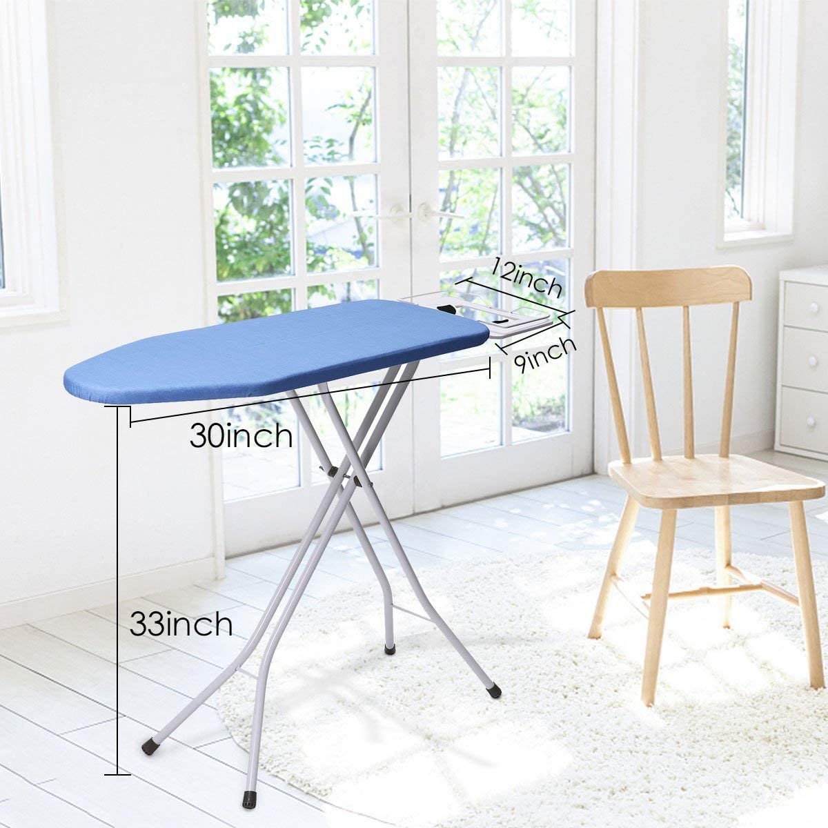 king do way Table Top Ironing Board With Iron Rest Design Foldable For Home Blue Blue