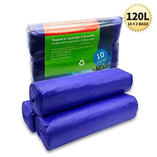 Bolsas de Basura de 120 Litros, Bolsas de Basura de Gran Tamaño, Bolsa de Basura Ambiental Gruesa, para el Hogar, Oficina, Negocios, 115 x 75cm, ...