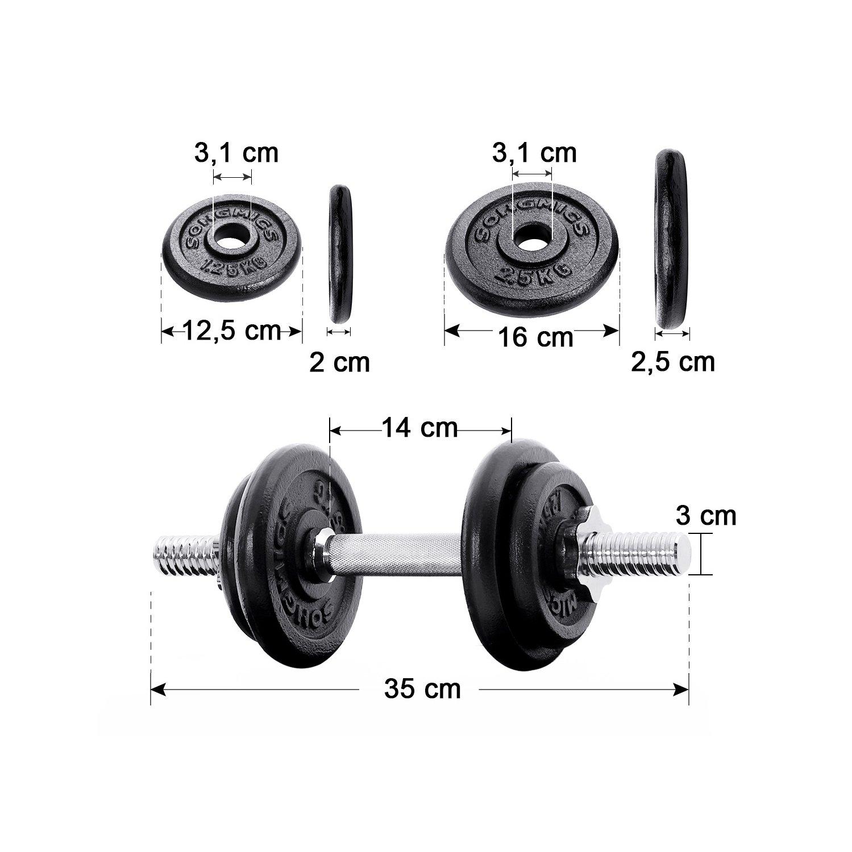 SONGMICS Juego de 2 Mancuernas de Fitness Pesas Hombres Discos de Hierro Fundido 30kg SYL30T: Amazon.es: Deportes y aire libre