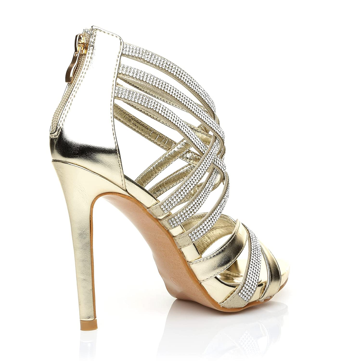 SONIA Champagne Gold Diamante Encrusted PU Leather High Heel Platform  Strappy Sandals: Amazon.co.uk: Shoes & Bags