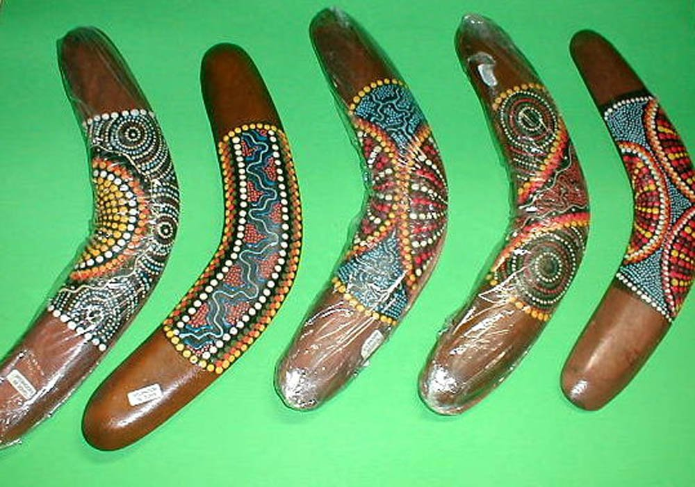 Aboriginal Dot Painted Boomerang Wall Decor Home by Emerald City Imports