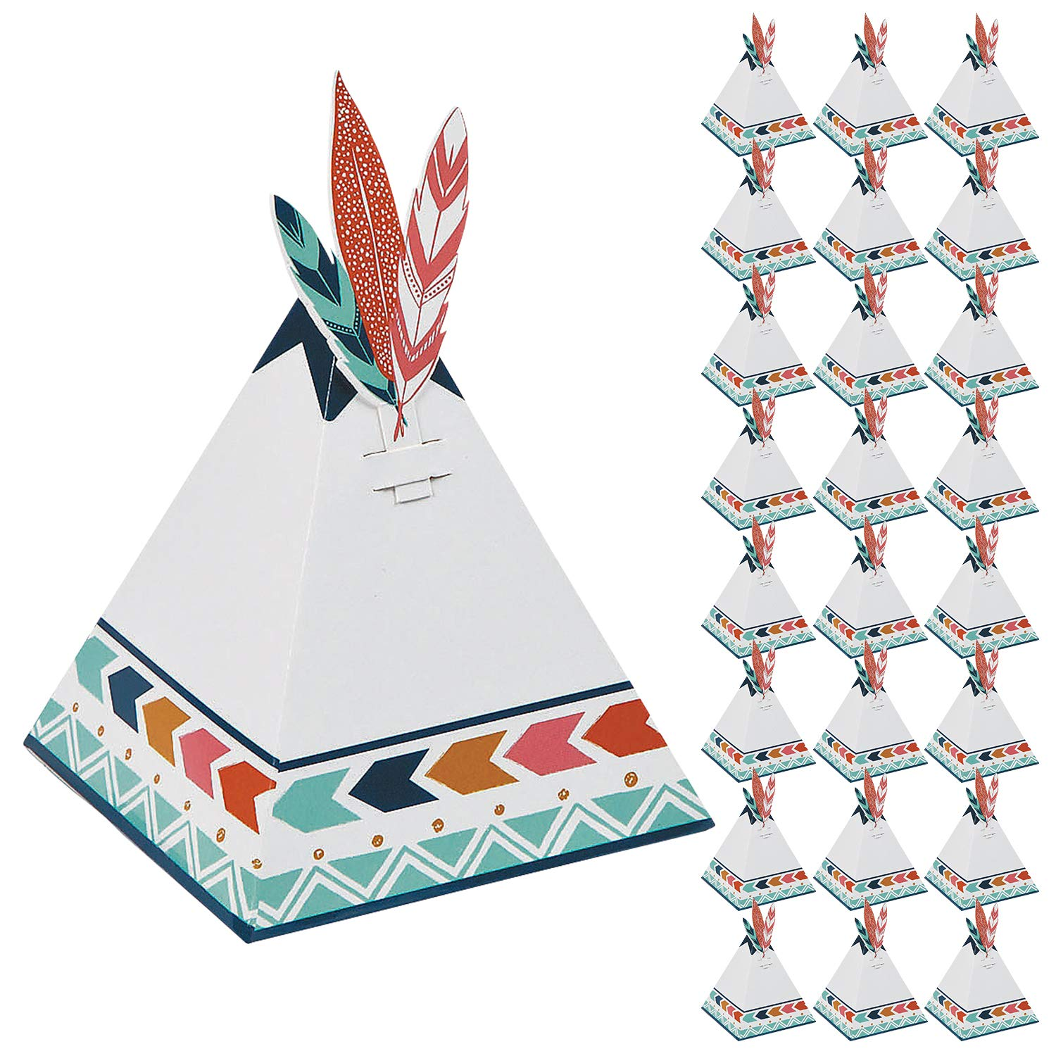 Boho Tribal Tent Party Favor Boxes 24 Pack