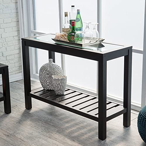 Sutton Glass Top Console Table with Slat Bottom