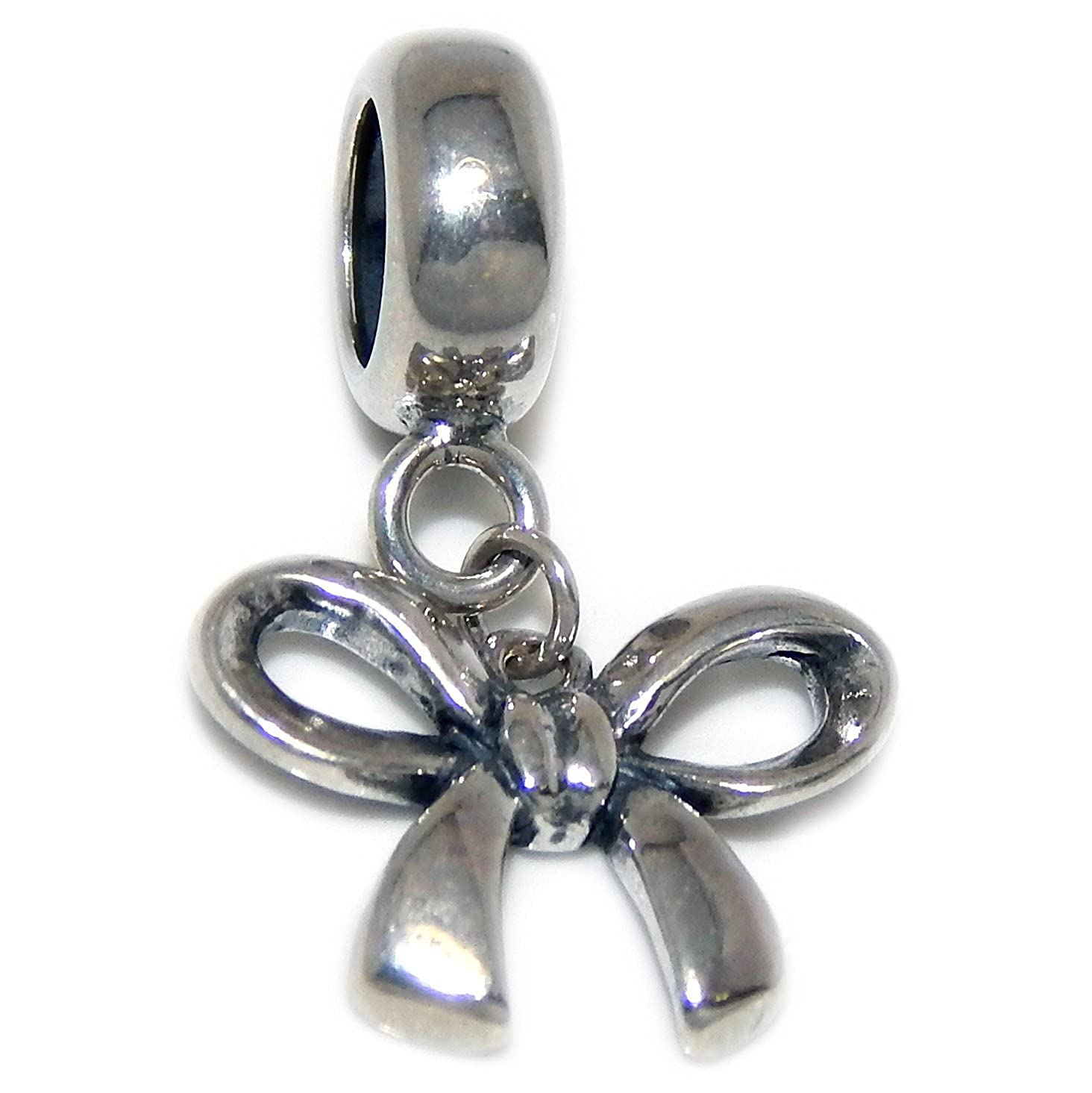 Solid 925 Sterling Silver Dangling Bow Charm Bead