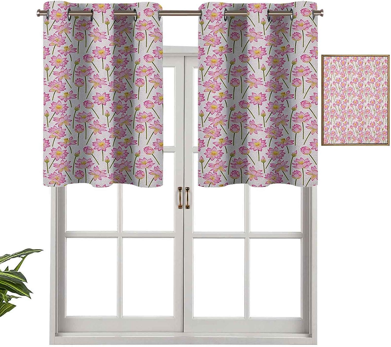 Hiiiman Cortina opaca con ojales en la parte superior, diseño de flores de purificación del alma, remedio homeopático, juego de 2, tratamiento de ventana de 137 x 60 cm para sala de estar