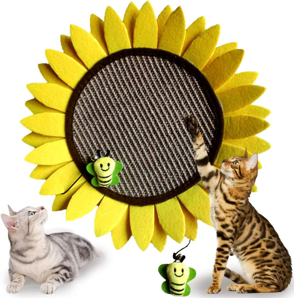 GiftParty Cat Scratching Pad, Sunflower Cat Scratcher Pad for Kitty, Natural Sisal Scratcher Board for Kitten & Cat, Furniture Interactive Activity Play Toy, 14 Inch