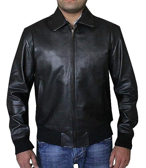 49d1bef14 CHICAGO-FASHIONS Mens Happy Days Fonzie Black Biker Bomber Leather Jacket