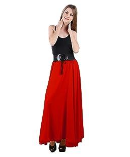 Raabta Fashion Women's Georgette Skirt (RFS-101, Red, 30-Medium)