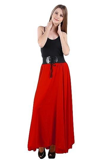 Raabta Fashion Women Maxi Skirt  RFS 101_Red_Medium