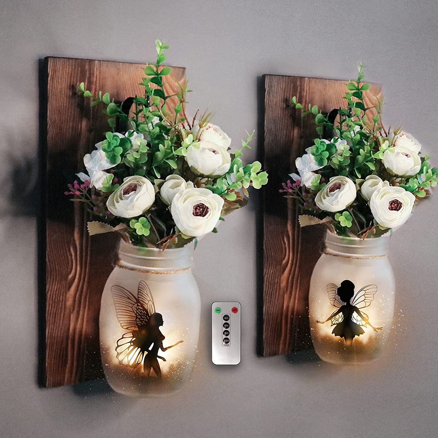 Wall Decor Mason Jar Sconces - Alritz 2 Pack Rustic Wall Sconces Light with Remote Flowers Magic Fairy for Bedroom Wall Decor Living Room Kitchen Decorations