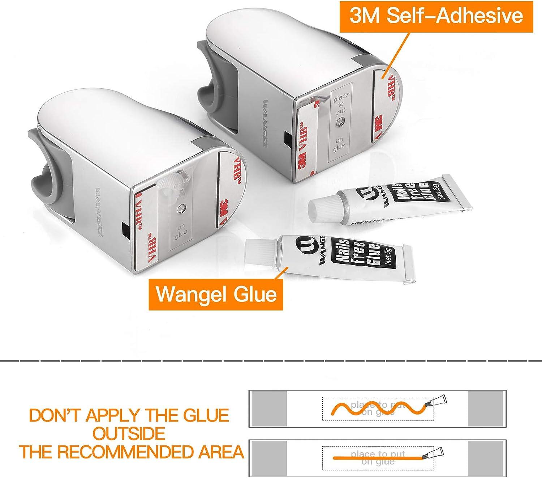 2 Piezas Wangel Reemplazo del Soporte Para Cabezal de Ducha Pegamento Patentado Soporte de Ducha de Mano Ajustable de /Ángulo Grande Pl/ástico ABS Autoadhesivo