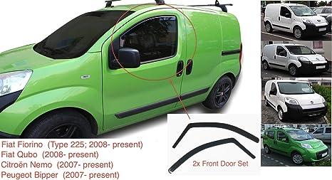 AC WOW Lot de 2 d/éflecteurs dair pour Fiat Fiorino Fiat Qubo Citro/ën Nemo Peugeot Bipper 2007-pr/ésent en Verre Acrylique teint/é fum/é fonc/é