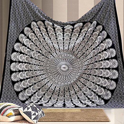 Indian Hippie Bohemian Ethnic Psychedelic Peacock Mandala Wall Hanging Tapestry Black And White Queen Size Large 84x90 Inches, 215x230 - Shipping Outfitters International Urban
