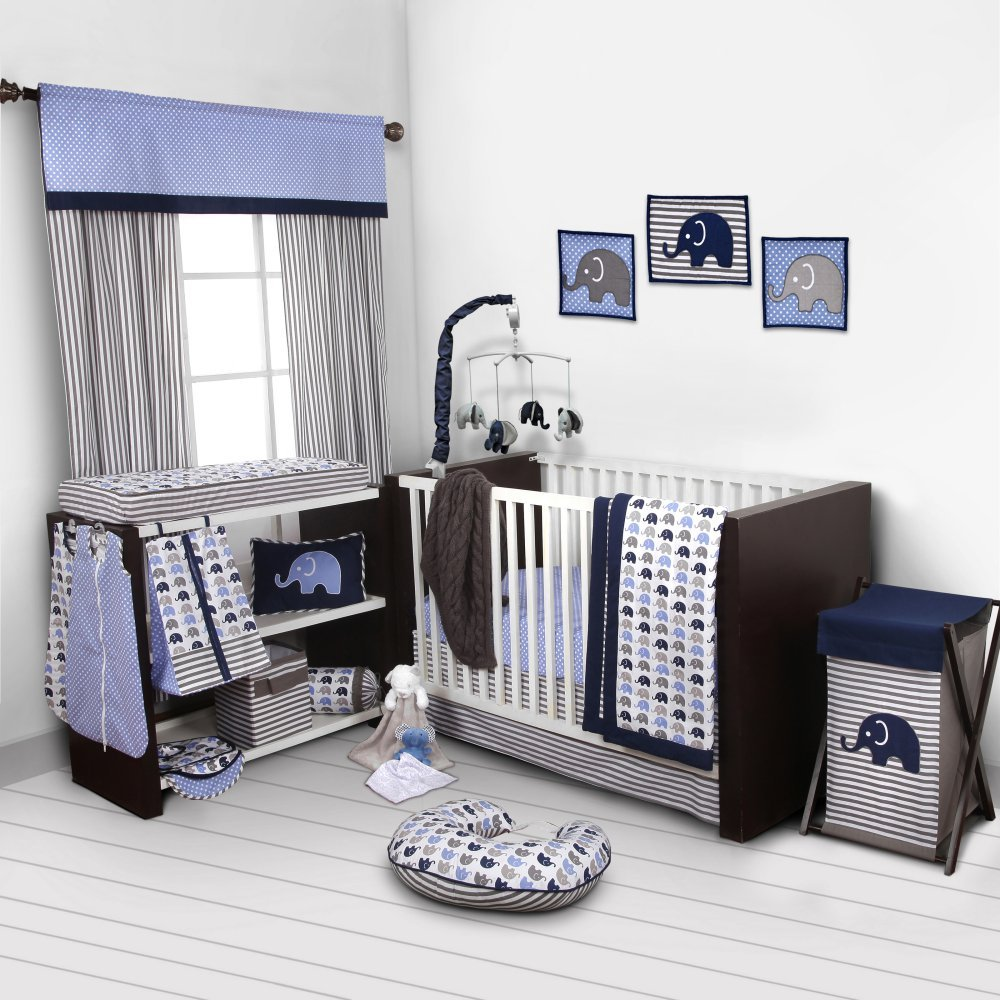 Elephants Blue/Grey 10 pc Crib Set Bumperfree by Bacati   B00KUM8IS4