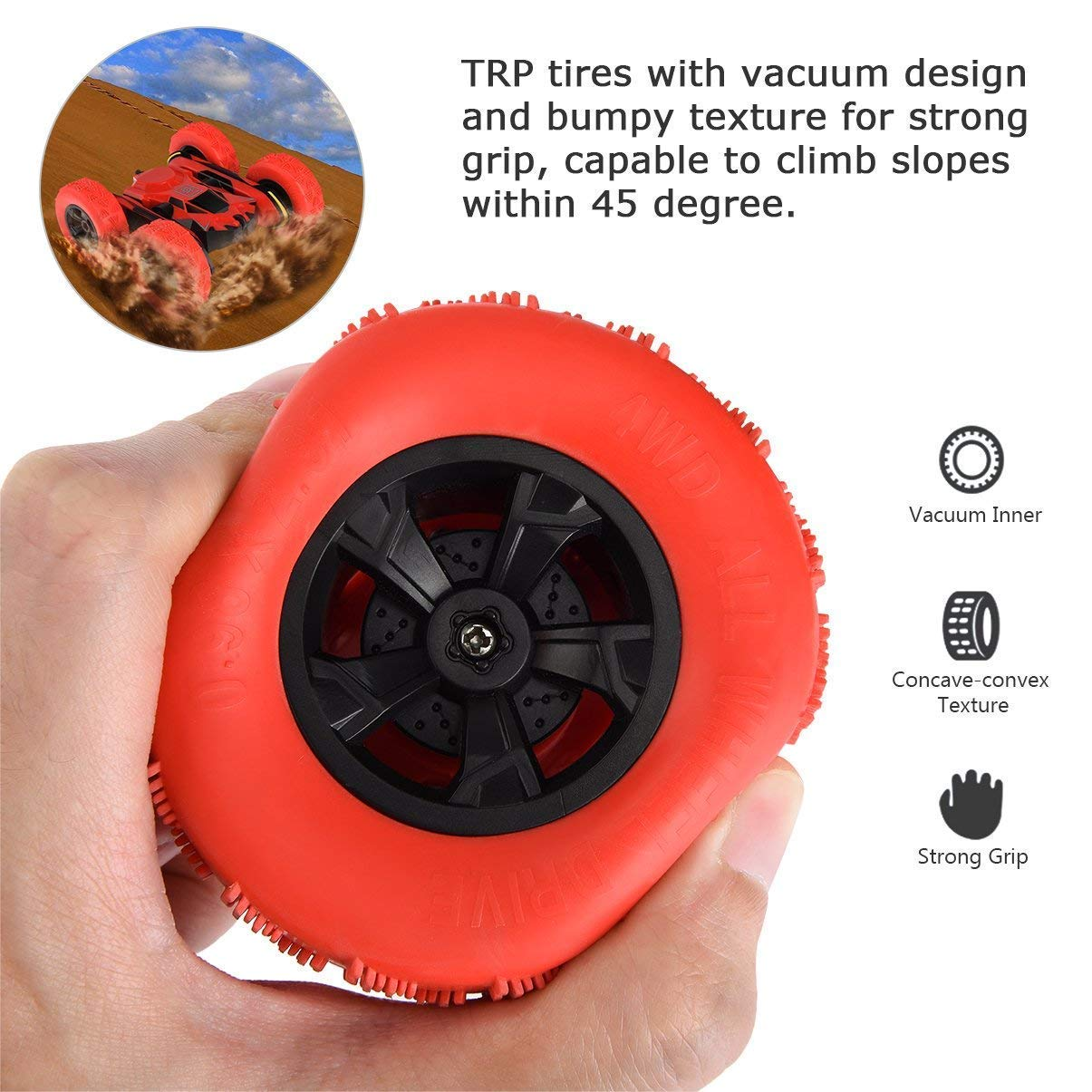 RC Cars Stunt Car Toy, Amicool 4WD 2.4Ghz Remote Control Car Double Sided Rotating Vehicles 360° Flips, Kids Toy Cars for Boys & Girls Birthday by Amicool (Image #4)