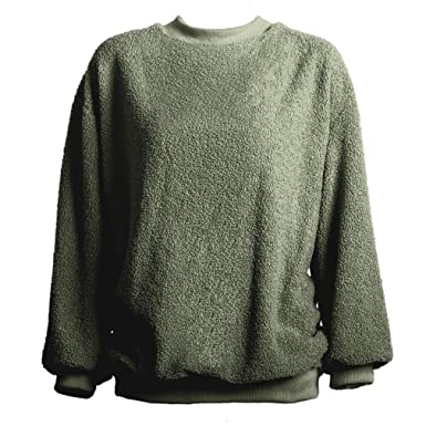 Womens Warm Long Sleeves Solid Fleece Pullover Coat Sweatshirts Outwear