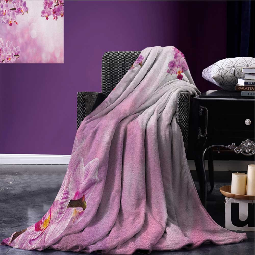 Spa waterproof blanket Orchid Petals in Monochrome Design Bouquet Spring Bloom Seedling Growth Peaceful Nature Print plush blanket Pink size:60''x80''