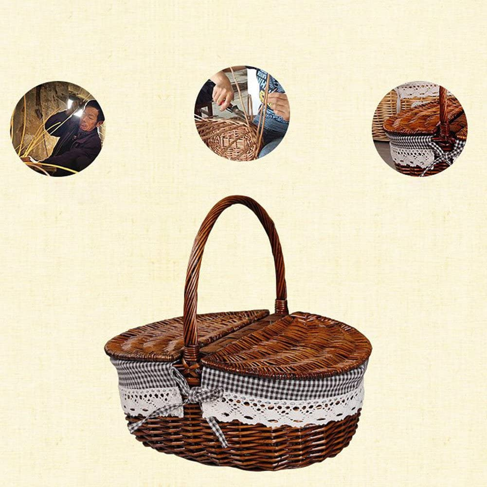 Picnic Storage Basket Natural Wicker Hand-Woven Oval Clamshell Basket with Double Lid and Handle Suitable for Household Clothes Storage Picnic Fruit Storage