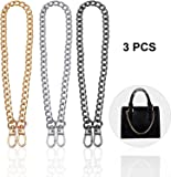 Gnognauq Metal Chain Belt Strap for Hand Bags Cloth Decoration Sewing Craft 40cm 3 Pack
