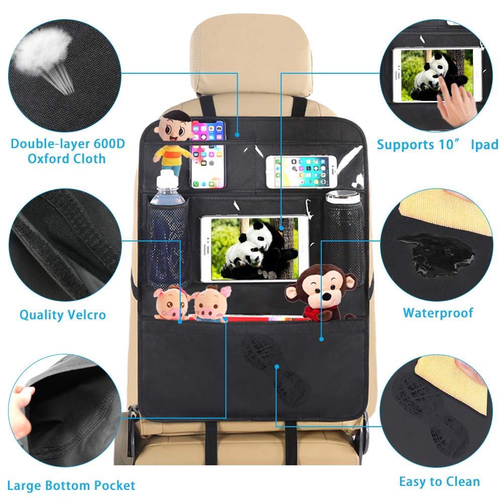 2 Pack Books Car Backseat Organizer Seat Back Protectors Kids Kick Mat with Touch Screen Tablet Holder+ 6 Storage Pockets Car Seat Organizer for Bottles Phones and iPad Tablet
