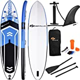 Goplus 10.5' Inflatable Stand Up Paddle Board SUP Cruiser with Removable Single Fin, Adjustable Paddle, Pump Kit and Carry Backpack