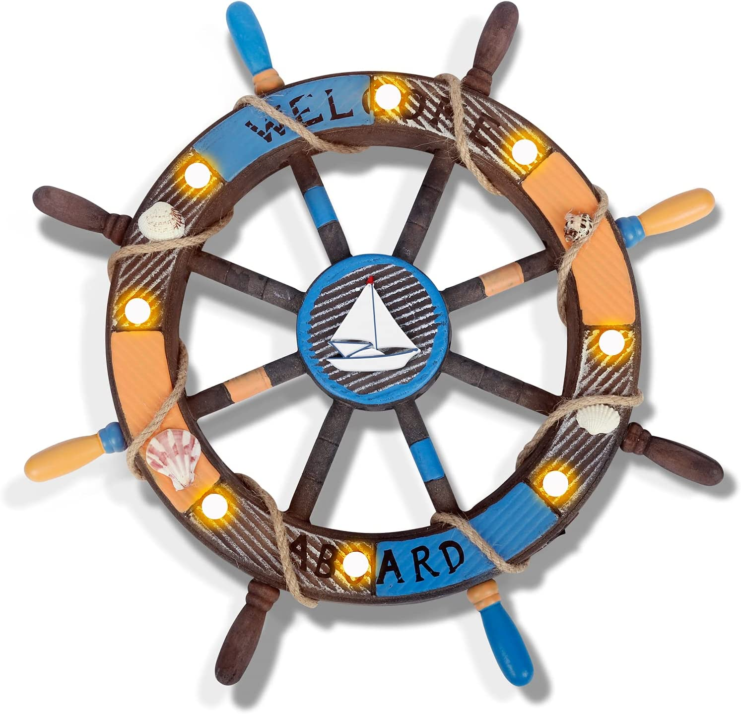 17.7'' Nautical Beach Wooden Boat Ship Steering Wheel with Light,Shell and Fishing Net,Classical Home Wall Decor Home Decoration Wall Hangings Accessories