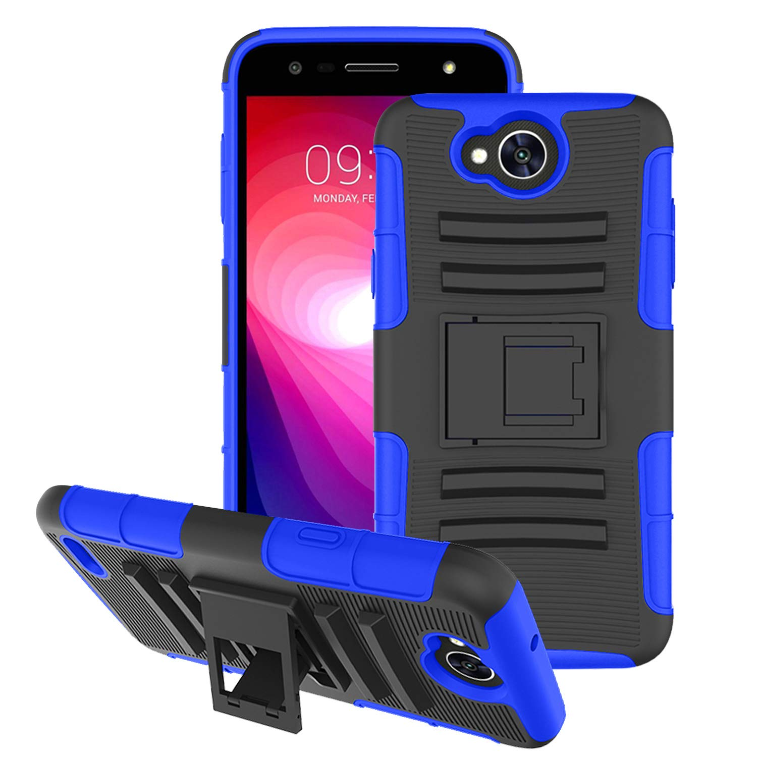 Aetech Phone Case for LG X Charge/XCharge/LG X Power 2/Xpower 2/LG Fiesta 2/LG Fiesta/LG LV7 2017 Cell Phone Case, with Kickstand Stand Cover, Blue