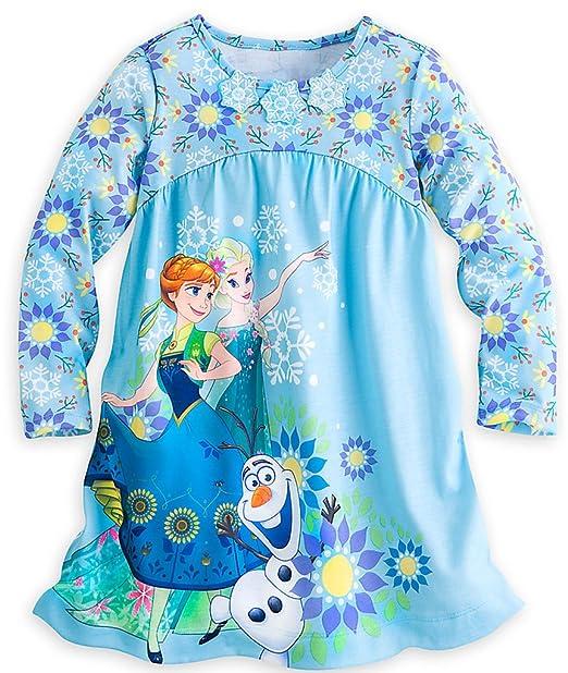 Disney Tienda Frozen Anna, Elsa & Olaf Pijamas Camisón de Manga Larga para Niña