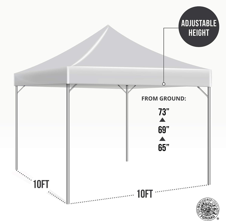 Black Waterproof Instant Outdoor Gazebo Tent Straight Leg UV Coated Punchau Pop Up Canopy Tent 10 x 10 Feet Bonus Roller Carry Bag