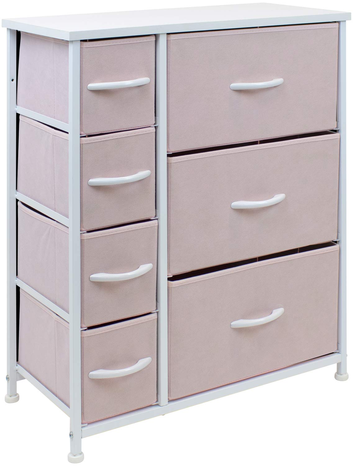 Sorbus Dresser with 7 Drawers - Furniture Storage Chest for Kid's, Teens, Bedroom, Nursery, Playroom, Clothes, Toys - Steel Frame, Wood Top, Fabric Bins (Pastel Pink)