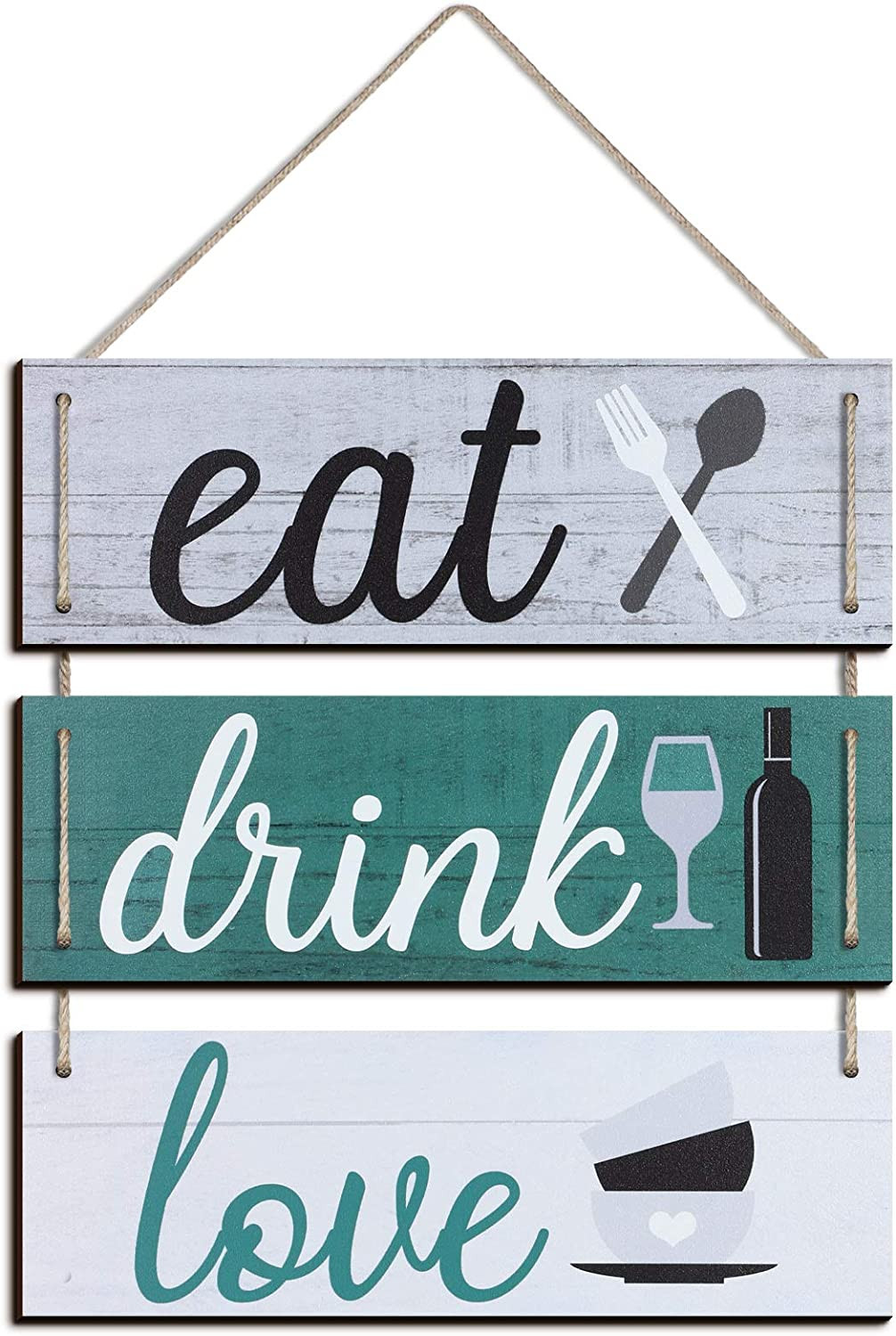 Jetec Eat Drink Love Kitchen Signs Wall Decor Family Hanging Sign Rustic Home Wall Decor Rustic Wood Sign Rustic Wooden Kitchen Wall Decor Bar Rustic Signs Farmhouse Wooden Hanging Wall Sign