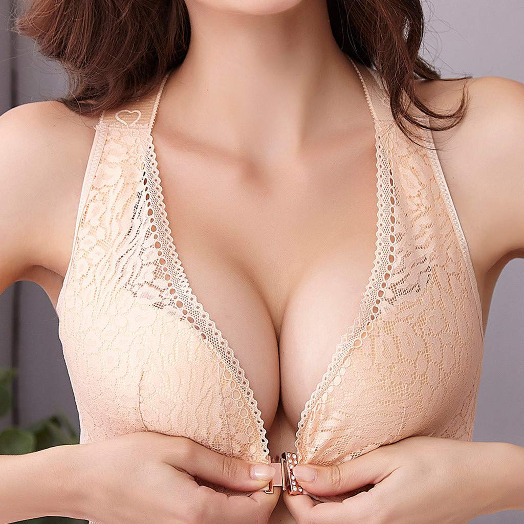 TIFENNY No Rims Bras Womens Front Closure Extra-Elastic Backless Criss Cross Shaping Posture Lift Bra Underwear Lingerie