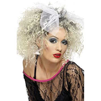Rizador de pelo de la peluca RUBIA 80er años con lazo de la peluca de la