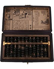 MagiDeal Classic Chinese Wooden Abacus with Box 11 Rods Counting Tool for Children Adults Gift