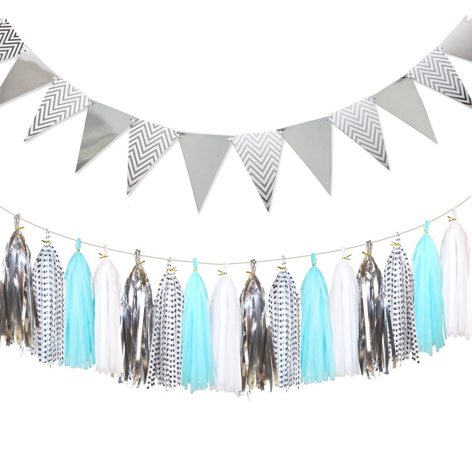 Shiny Paper Pennant Banner Triangle Flag Bunting 8.2 Feet and Tissue Paper Tassels Garland 20 pcs for Bridal Shower, Birthday Party, Home Wall Decoration, Silver+Blue+White