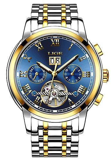 LIGE - Reloj de pulsera para hombre, primera marca, de lujo, deportivo, ejecutivo, automático, mecánico, de acero, resistente al agua: Amazon.es: Relojes