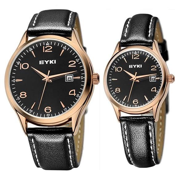 JIANGYUYAN Pareja Relojes Oro Funda de Piel Reloj para Hombres y Mujeres Negro: Amazon.es: Relojes