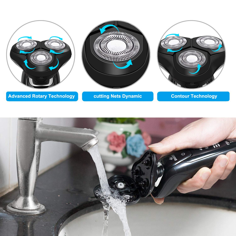 4-in-1 Men's 4D Electric Razor Set, Cordless Wet Dry Rotary Shaver & Beard Trimmer - Black