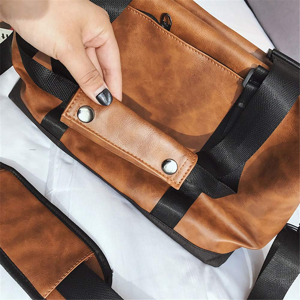 Fklee Travel Bags Simple Wild Casual Handbag Large Capacity Bucket Travel Bag Multifunctional Mens Travel Bag Waterproof Shoulder Bag Leisure Travel Bag Travel Tote Luggage Bag