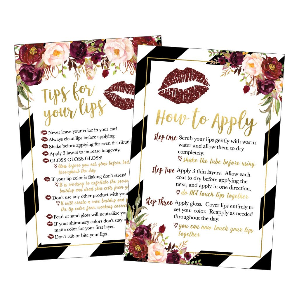 25 Lipstick Application Instructions Tips And Tricks Distributor Supplies Card Directions Lip Sense Business Marketing
