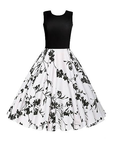 OUGES Women's 1950s Sleeveless Patchwork Vintage Dress