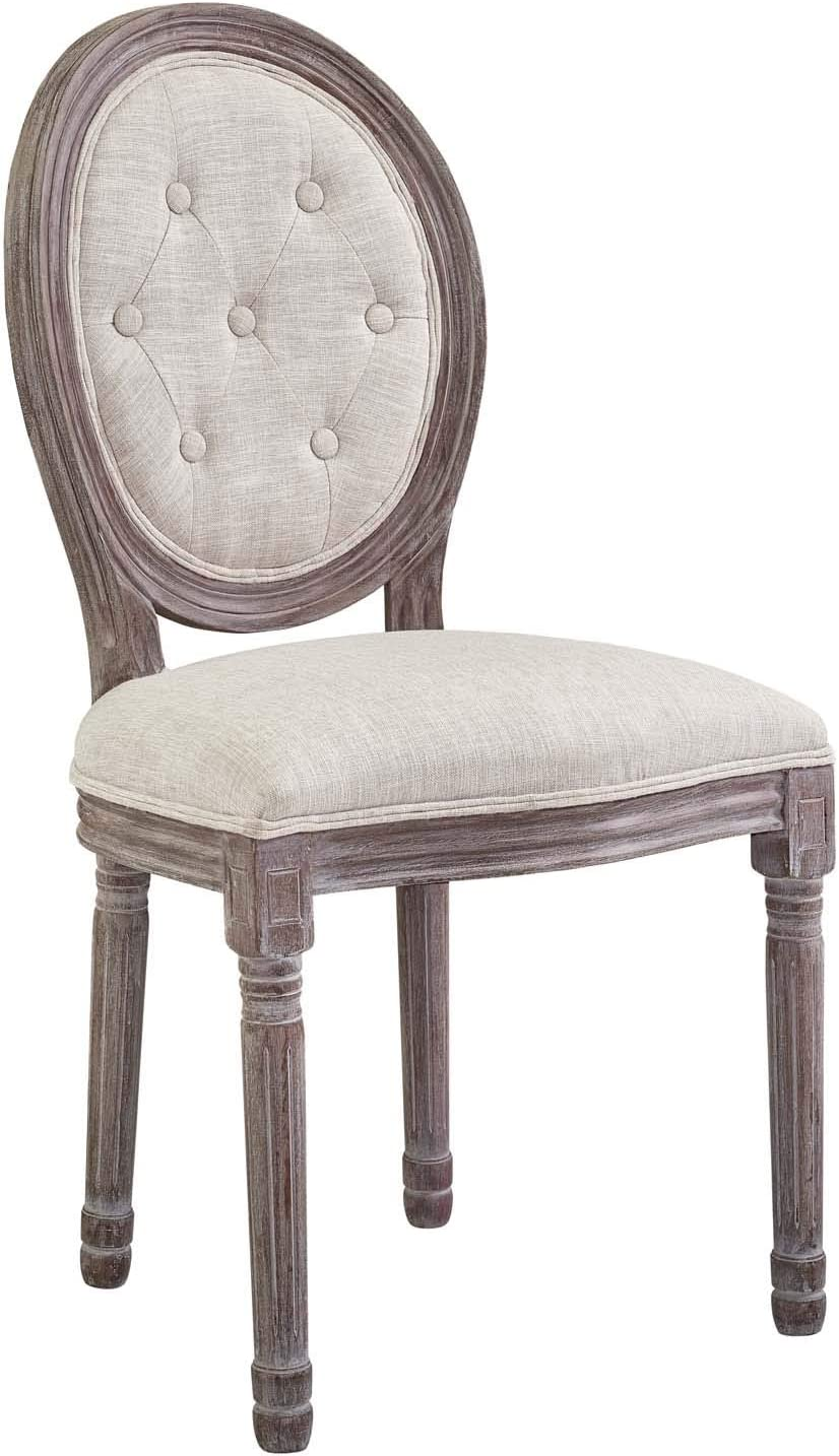 Modway Arise French Vintage Tufted Upholstered Fabric Weathered Wood Four Kitchen and Dining Room Side Chairs in Beige – Fully Assembled